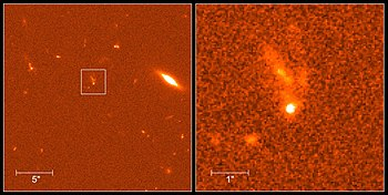 The image above shows the optical afterglow of gamma ray burst GRB-990123 taken on January 23, 1999. The burst is seen as a bright dot denoted by a square on the left, with an enlarged cutout on the right. The object above it with the finger-like filaments is the originating galaxy. This galaxy seems to be distorted by a collision with another galaxy.
