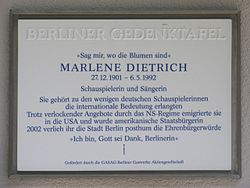 Photo of Marlene Dietrich white plaque