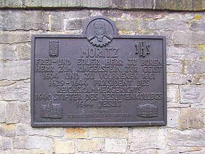 Büren, Westphalia - Memorial plate Moritz von Büren in Büren