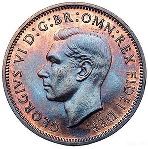 Humphrey Paget - Paget's obverse on a farthing of George VI, 1951