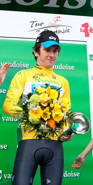 2012 Tour de Romandie - Image: Geraint Thomas (podium) TDR 2012