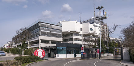 ORF's corporate headquarters (ORF-Zentrum Küniglberg) on Küniglberg in Vienna, designed by Roland Rainer and constructed from 1968–1975.
