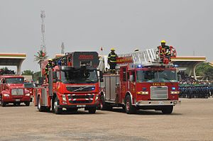 Kejetia, Kumasi, Ghana - National Fire and Rescue Service Fire Engines.