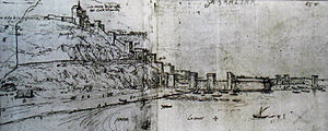 Twelfth Siege of Gibraltar - The northern approach to Gibraltar as seen in 1567; the view would have been substantially the same in 1704