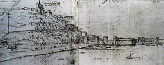 Fortifications of Gibraltar - The northern approach to Gibraltar as seen in 1567; in the 17th century the tall towers for archers were pulled down and replaced with bastions for cannon