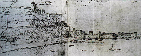 sketch of the approach to Gibraltar in 1567