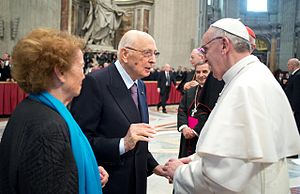Papal inauguration of Pope Francis - President of Italy, Giorgio Napolitano and his wife Clio greet Pope Francis