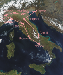 Route of the 11th Giro d'Italia,run anti-clockwise from Milan to Milan