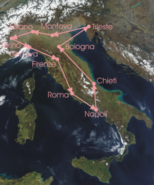 1923 Giro d'Italia - Route of the 11th Giro d'Italia, run anti-clockwise from Milan to Milan