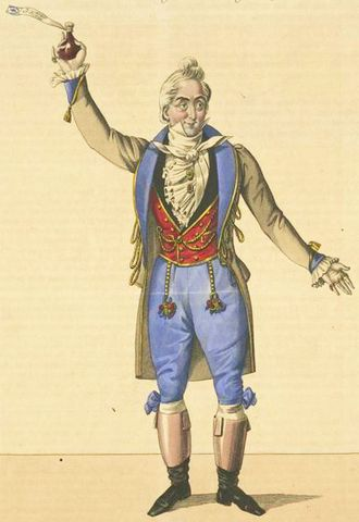 L'elisir d'amore - Giuseppe Frezzolini as Dulcamara in the premiere of the opera