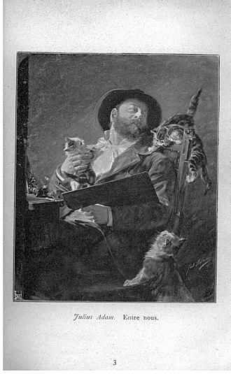 "Julius Adam - ""Entre Nous"" (self-portrait with kittens) by Julius Adam (lithograph of 1911 oil on canvas)"