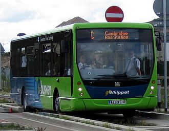 Go Whippet - Plaxton Centro bodied Volvo B7RLE on the Cambridgeshire Guided Busway on the opening day 7 August 2011