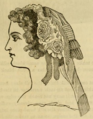 Godey's Lady's Book (1861) - Dress cap with roses and gold lace.png