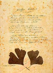 Originalschrift des Goethe-Gedichts.