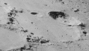 Goldschmidt (crater) - Oblique view from Lunar Orbiter 4