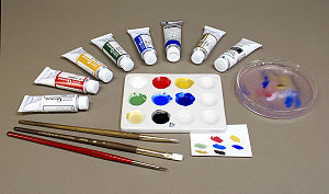 Gouache - Gouache paints come in many colors and are usually mixed with water to achieve the desired working properties and to control the opacity when dry.