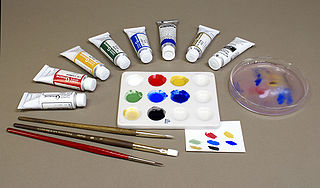 Gouache paint consisting of pigment, a binding agent (usually gum arabic), and sometimes added inert material