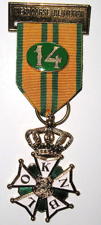 Cross for the Four Day Marches - Gold cross with crown, awarded for eleventh march, with ribbon number for 14th march