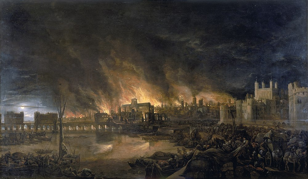 The Great Fire of London, depicted by an unknown painter (1675), as it would have appeared from a boat in the vicinity of Tower Wharf on the evening of Tuesday, 4 September 1666. To the left is London Bridge; to the right, the Tower of London. Old St Paul's Cathedral is in the distance, surrounded by the tallest flames.