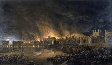 The Great Fire of London destroyed many parts of the city in 1666. Great Fire London.jpg