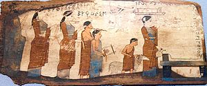 Pinax - One of the Pitsa panels, 6th century BCE, paint on wood, showing an animal sacrifice in Corinth