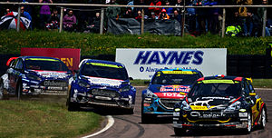 2014 World RX of Great Britain - Reinis Nitišs, Andreas Bakkerud, Timmy Hansen and Jérôme Grosset-Janin