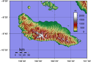 Outline of the Solomon Islands - Topographical map of the island of Guadalcanal, click to enlarge