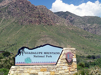 Guadalupe Mountains National Park - Sign at the entrance of the Park
