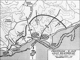21st Marine Regiment (United States) -  Fig. 1 Sketch of 21st Marines position after the first day of fighting on Guam.