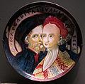 Gubbio, coppa amatoria con coppia abbracciata, 'margarita diva mia bella', 1540 ca..JPG