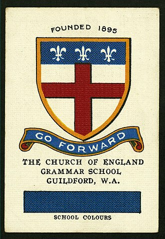 Guildford Grammar School - Collectable cigarette card featuring the Guildford colours and crest, c. 1920s