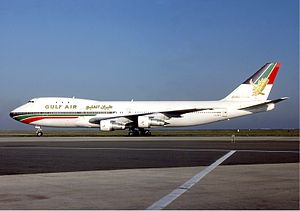 Gulf Air - A Gulf Air Boeing 747-100 at Charles de Gaulle Airport in 1986