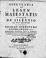 Gundling, Nicolaus Hieronymus – Singularia ad legem maiestatis itemque de silentio in hoc crimine, 1737 – BEIC 3724741.jpg
