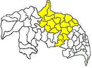 Guntur revenue division - Mandals in Guntur revenue division (in yellow) of Guntur district