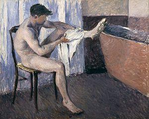 Man dries his leg