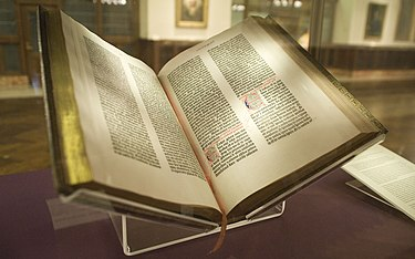 The Bible is the sacred book in Christianity. Gutenberg Bible, Lenox Copy, New York Public Library, 2009. Pic 01.jpg