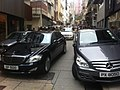 HK Sheung Wan 差館上街 Upper Station Street carparking Mercedes-Benz vehicles March-2012 black.jpg