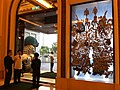 HK TST Peninsula Hotel Hong Kong door gods exit view stone lion Oct-2012.JPG