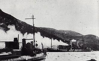 HMS Ben-my-Chree - HMS Ben-my-Chree under fire