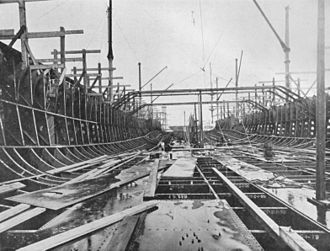 HMS Dreadnought (1906) - Dreadnought two days after the keel was laid. Most of lower frames are in place plus a few of the beams which will support the armoured deck.