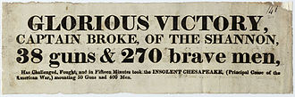 HMS Shannon (1806) - Newspaper announcing the Shannons victory