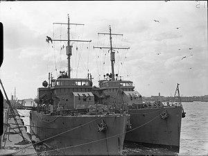 HMS Sidmouth & HMS Bangor at Portsmouth WWII IWM A 6070.jpg