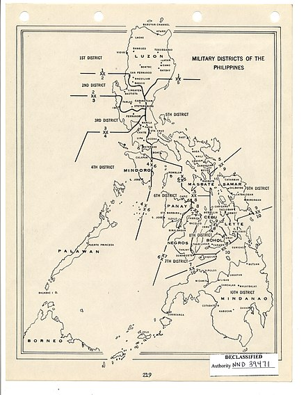 The 10 Military Districts recognized by the US Army. HQ Philippines Command, U.S. Army Recognition Program of Philippine Guerrillas, ca. 1949 (1) - NARA - 6921767 (page 225).jpg