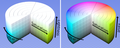 HSL HSV cylinder color solid comparison.png