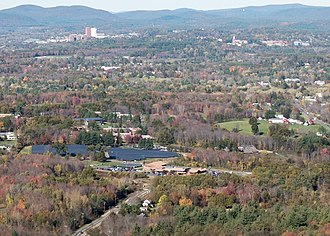 Hampshire College - Hampshire College viewed from Bare Mountain October 2017. Amherst College (top right) and The University of Massachusetts Amherst (top left) are both visible.