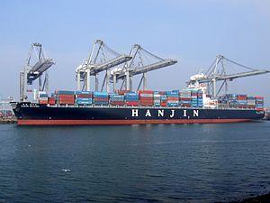 Hanjin Helsinki IMO 9235098, at the Amazone harbour, Port of Rotterdam, Holland 16-Jan-2005.jpg