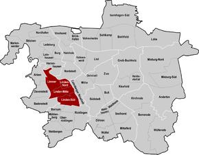 Hannover, Stadtbezirk Linden-Limmer hervorgehoben