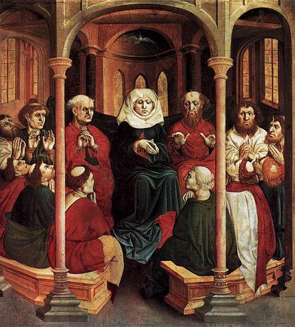 Saint du jour - Page 6 420px-Hans_Multscher_-_Pentecost_-_WGA16331