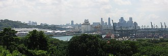 Keppel Harbour - Panoramic view over Keppel Harbour with HarbourFront at the left, and the docks to the right. Taken from Imbiah Lookout on Sentosa.