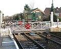 Harling Road station - crossing gates and signal box - geograph.org.uk - 1702931.jpg